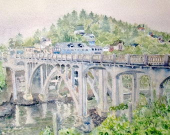 Bridge at Depoe Bay, Oregon Original Watercolor Painting - World's Smallest Harbor and Whale Watching Capital of the World - Oregon Coast