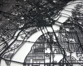 Dallas, Texas - 3D laser cut street map minimalist art 11x14 - custom city map dorm decor graduation engagement office wedding gift