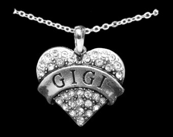 Gigi Heart Shaped Rhinestone Charm Necklace
