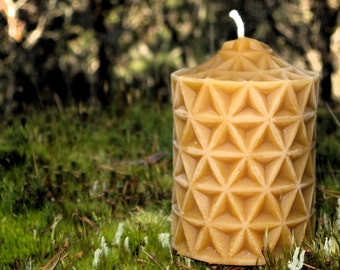 Pure Beeswax Candle. Triangle Pillar Shape. 3x4 inches.  Pure Cotton Wicking.  Hand Poured.  Unscented. 100% pure beeswax.