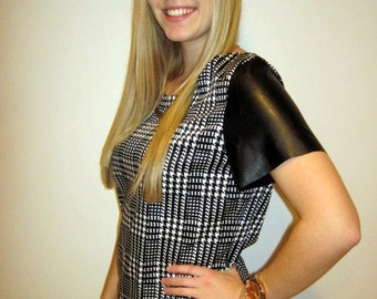 Houndstooth Top featuring Faux Leather Sleeves