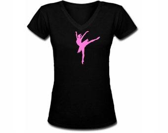 Swan lake Ballerina classical ballet beautiful black v neck women teen girls t shirt