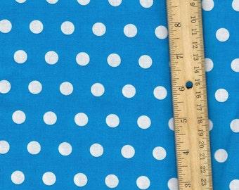 Aqua Polka Dot Fabric, Blue Fabric, Fabric by the Yard, sewing fabric, quilt fabric
