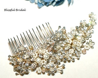 Gold Pearl Beaded Wedding Comb, Gold Hair Comb, Rum Champagne Gold Comb, Bridal Gold Comb, Gold Hair Accessory