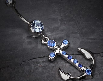 Blue Jeweled Anchor Belly Ring