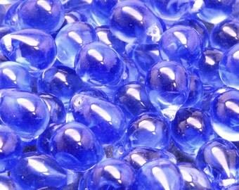10pcs Czech Pressed Glass Teardrop Beads 10x14mm Sapphire