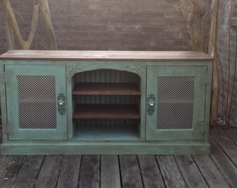 Unique Media/TV Console with Storage In Distressed Turquoise - Shabby Chic