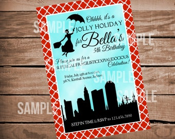 Mary Poppins Jolly Holiday Birthday Invitation with Red Clover Quatrefoil Background
