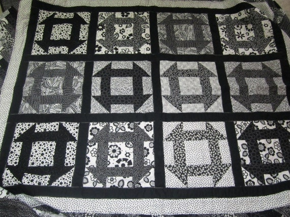 Braided Quilt Border Pattern Home : Black and White Churn Dash Quilt with braided border. One of a