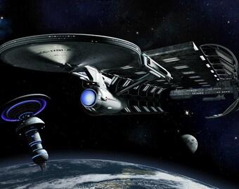 Star Trek Digital Art  Glossy Print  'Leaving Stardock'