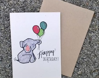 Cute Elephant Birthday Card, Rustic Birthday Card for Kids, Kids Birthday Card