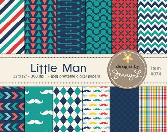 Little Man Mustache Digital Papers for Digi-Scrapping, Cards, Invitations, Arrows, harlequin