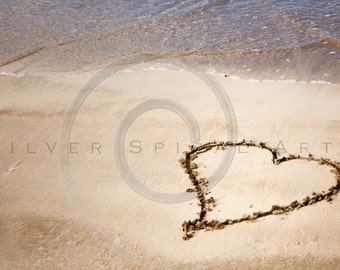 Beach Photography Heart In Sand Instant Download Printable Photograph Ocean Fine Art Print Digital Image Royalty Free Stock Photo Home Decor
