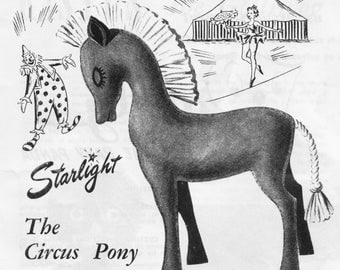 Sewing Pattern, Pony, Vintage Toy Pattern, Felt Toy Pattern, 1950's, Instant Download