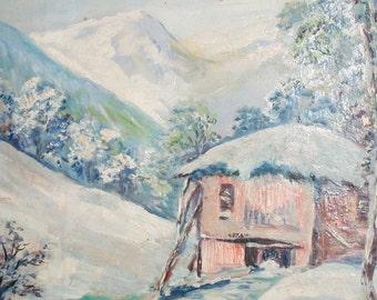 Vintage Impressionist Oil Painting Snowy Landscape