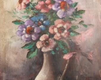 Vintage Italian Impressionist Still Life Oil Painting Signed