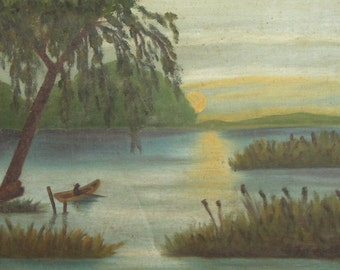 Antique oil painting fisherman landscape lake