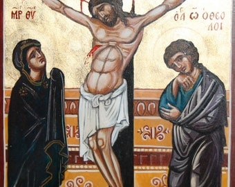 Hand painted icon Crucifixion Of Jesus Christ