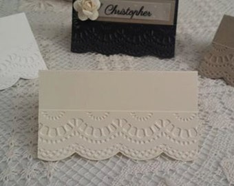 DIY Lace Embossed Place Cards x 20