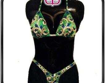 Green Figure Suit - Swarovski Rhinestones