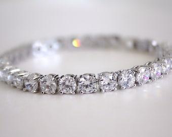Crystal tennis bracelet, Swiss zirconia bracelet, bridal tennis bracelet, cubic zirconia bracelet, silver cz bracelet