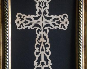 """Floral Cross,ORIGINAL ART Handmade Paper Cutting, Scherenschnitte, fits 5x7"""" frame"""
