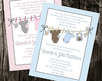 Free Thank You Card Download Included ** baby boy or baby girl clothes line baby shower invitation digital baby shower invitation