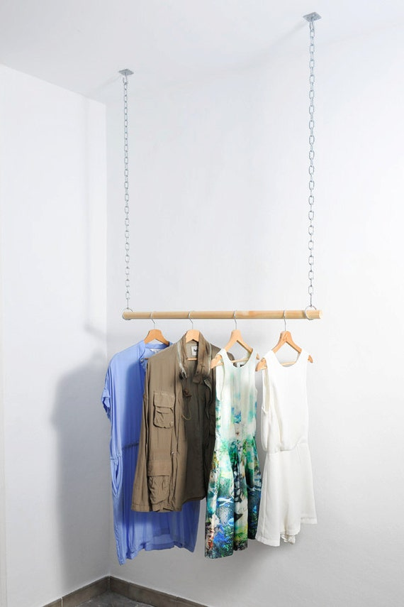 Wooden Floating Hanging Clothes Rack By Aveleredesign On Etsy