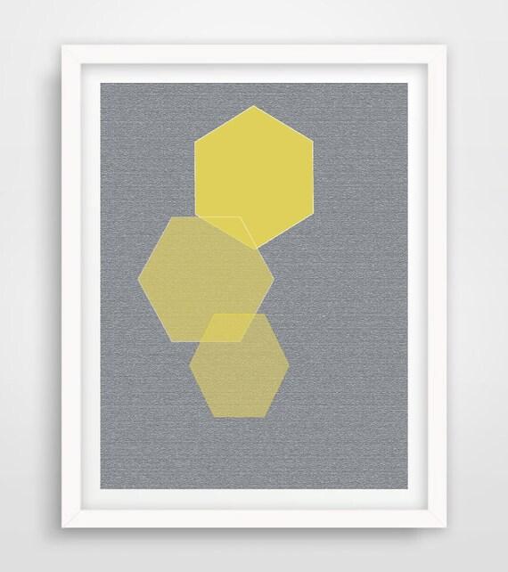 Wall Decor Hexagon : Printable hexagon wall art geometric yellow grey