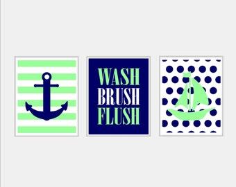 Kids Nautical Bathroom Decor - Wash Brush Flush Wall Art - Blue Green Sailboat Anchor Bathroom Art - Set of 3 Prints Girl Boy Bath Art