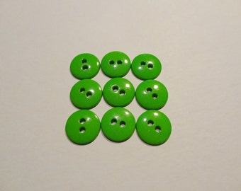 Vintage Apple Green Buttons - Set of 9