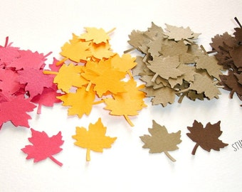 120 Mixed Brown, Red & Orange Maple Leaves Cut-outs, Confetti -or Choose Your Colors- Set of 120 pcs