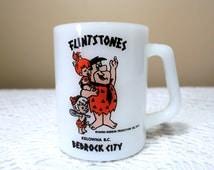 Flintstones Mug,Federal Glass,Fred Flintstone,Pebbles Flintstone,Bamm Bamm Rubble