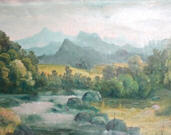 Vintage oil painting landscape river scene signed