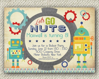Robot birthday invitation printable birthday invitation boy robot birthday party lets go nuts instant download robot invitation personalized filmwisefo Images