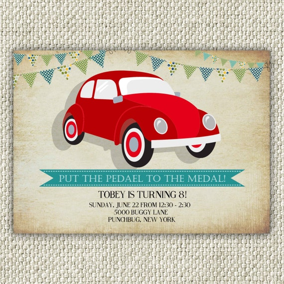 Vintage Car Birthday Invitation, VW Bug Beetle Birthday Party INSTANT ...