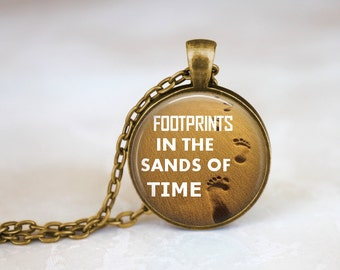 FREE SHIPPING Sand Beach Quote Necklace, Footprints In The Sands of Time Jewelry Quote Necklace, Ocean Sea Necklace, Beach Jewelry, Beach Gi