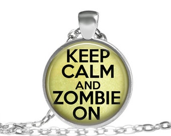 FREE SHIPPING Zombie Necklace, Keep calm and zombie on pendant, Zombie geekery accessory, Green Zombie Necklace, Zombie geekery jewelry, Zom