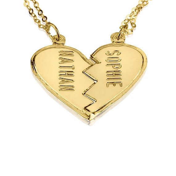 Personalized gold broken heart necklace couples 18k gold like this item aloadofball Choice Image