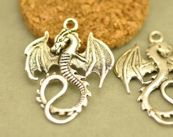 10pcs Antique Silver Flying Dragon Charms Pendants Findings (#3010069)