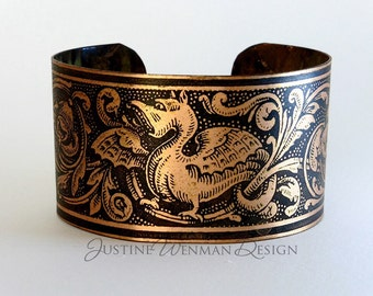 Copper Cuff Etched w/ Baby Dragon Motif, Fantasy Creature, Mythical, Magical Woman's Bracelet