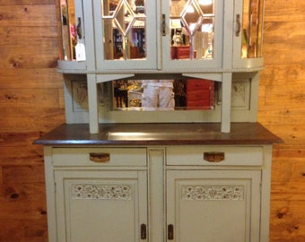 SOLD - Antique Furniture: 1930's Beveled Mirror Mahogany Buffet