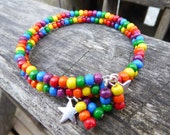 SALE Memory Wire Wooden Rainbow Bracelet with Star Charms