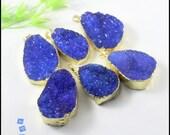 3-10pcs Quartz Nature Druzy Pendant ,Gold tone in Dark Blue color Crystal Pendant, gemstone Nature Drusy Pendant Beads Jewelry findings