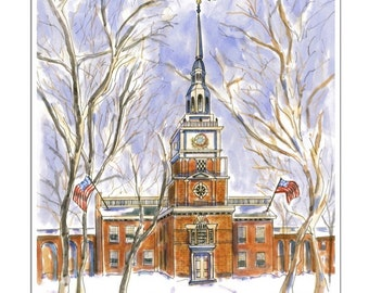 Philadelphia Independence Hall. Matted digital print of original watercolor painting.