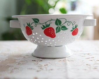 Vintage Enamel Strawberry Colander Strainer