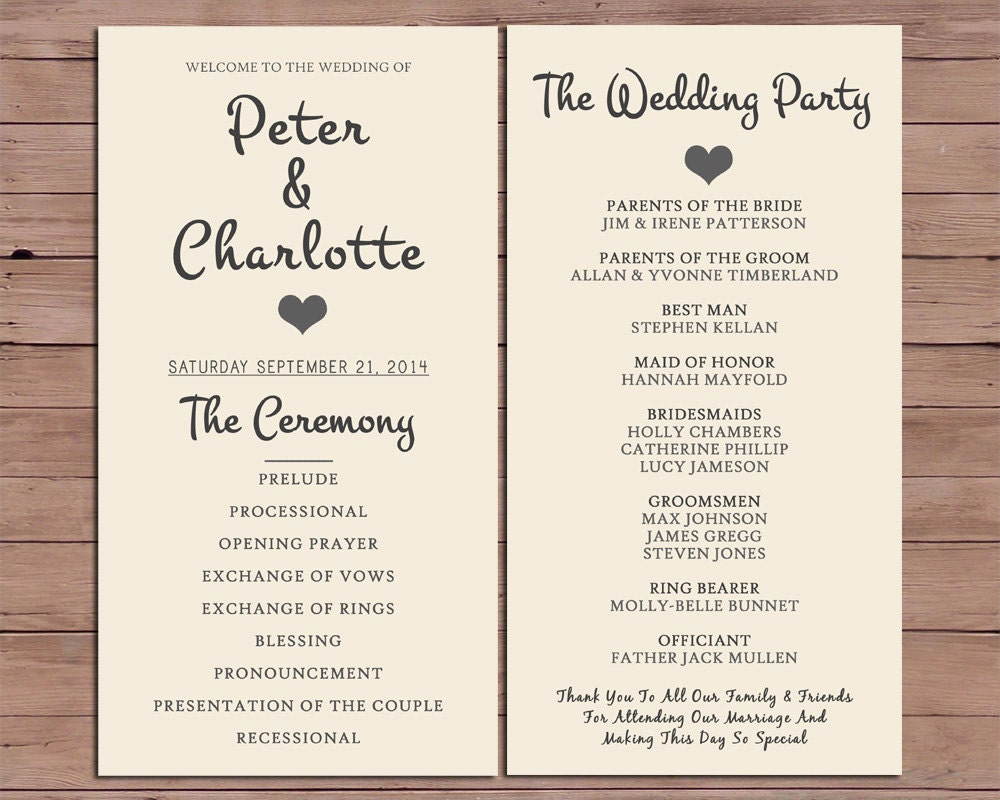 Wedding program order of service by darlingpapercompany on for Wedding processional order template