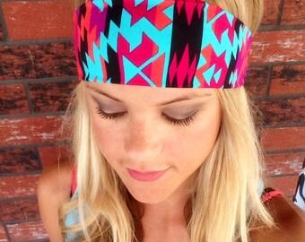 Tribal Print Headband, Aztec Print Headband, Summer Headband, Colorful headband, Aztec headband, Tribal headband, Spandex Headband