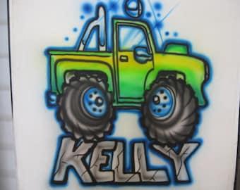 Custom Airbrush T Shirt, freehand, not a stencil, monster truck