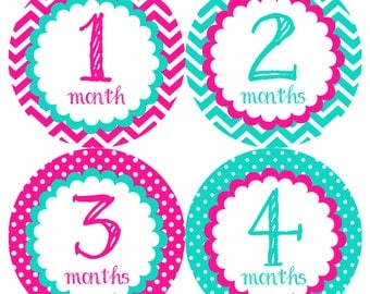 Turquoise & Pink Monthly Onesie Stickers - Bright Pale Pink Blue Green Fuschia Classic